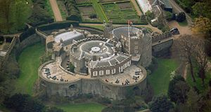 Walmer Castle - Aerial view of the castle seen from the north-east, showing the later alterations to the upper storeys, with the gatehouse to the upper right