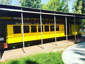 Los Angeles Live Steamers Railroad Museum - The Disneyland Railroad combine car is on display adjacent to Walt Disney's Carolwood Barn.