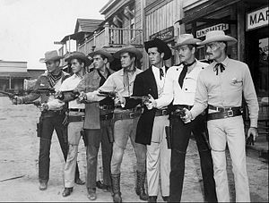 Jack Kelly (actor) - Publicity still with 1959 Warner Bros. series leads Will Hutchins (Sugarfoot), Peter Brown (Lawman), Jack Kelly (Maverick), Ty Hardin (Bronco), James Garner (Maverick), Wayde Preston (Colt .45), and John Russell (Lawman).