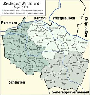 Regierungsbezirke und Kreise im Reichsgau Wartheland (August 1943)