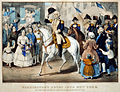 Washington's entry into New York 1783, Currier and Ives 1857.jpg