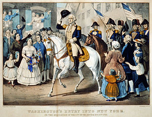 1783 in the United States -  November 25: Washington's Entry into New York  by Currier & Ives