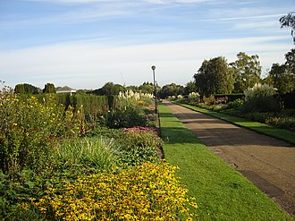 Waterloo Park, one of six parks built during the 1930s to help alleviate unemployment in the city Waterloo Park Norwich Herbaceous Border.JPG