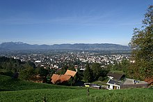 A photo of Dornbirn from a hillside
