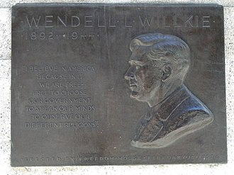 Wendell Willkie - Plaque dedicated to Willkie outside the main branch of the New York Public Library