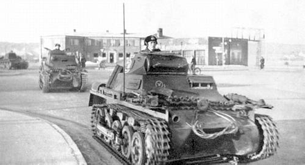 German Pz.Kpfw. I tanks in Aabenraa, Denmark, 9 April 1940 Weserubung-Sud Panzers.PNG