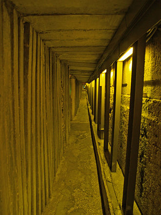 Excavations at the Temple Mount - Concrete supports in the tunnel.