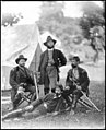 Westover Landing, Va. Col. James H. Childs (standing) with other officers of the 4th Pennsylvania Cavalry LOC cwpb.03852.jpg