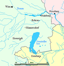 Lage des Geburtsortes Rohrau und anderer Orte der Region, in denen Haydn die meiste Zeit seines Lebens verbrachte (heutige Grenzen) (Quelle: Wikimedia)