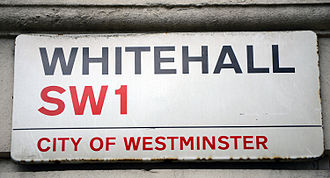 Figure of speech - Whitehall is a road in the City of Westminster, London used synecdochically to refer to the UK civil service, as many government departments  are nearby.