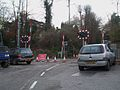 Whyteleafe South stn level crossing look west.JPG