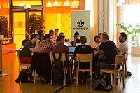 Wikimedia Hackathon Vienna 2017-05-19 Hacking Heuriger 001.jpg