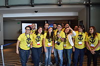 Wikimedia Mexico volunteers on first day of Wikimania 2015 03.JPG