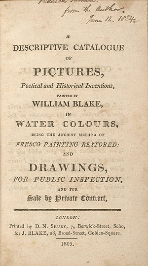 Descriptive Catalogue (1809) - The title page of the Descriptive Catalogue
