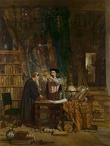 The Alchemist (1853) by Sir William Fettes Douglas: A painting of two alchemists at work; one crouched and the other standing at a cluttered desk in a study with bookcases and heavy curtains