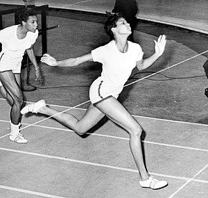 Wilma Rudolph - Rudolph at the finish line during 50-yard dash at track meet in Madison Square Garden, 1961