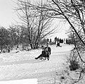 Witte kerst, sleetje rijden op het kopje van Bloemendaal, Bestanddeelnr 917-2753.jpg