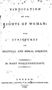 a vindication of the rights of w wikisource the online  title page from the first edition of a vindication of the rights of w