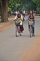 Woman Bicyclists - Sriniketan-Santiniketan Road - Bolpur 2014-06-29 5392.JPG