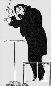 Caricature of a man in evening dress, seen from his left; he wears a large carnation in his lapel and is conducting an orchestra on tip-toe