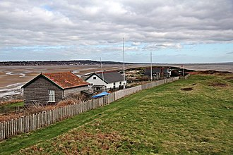 Hilbre Islands - Image: Wooden buildings on Hilbre Island (geograph 2857579)