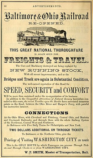 Baltimore and Ohio Railroad - Advertisement for the Baltimore and Ohio in an 1864 Baltimore city directory, promoting its repairs and reopening at one point during the war.