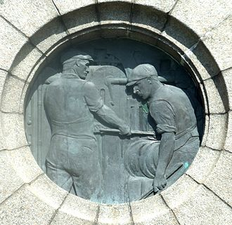 Workington - War memorial tribute to local workers in heavy industries