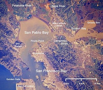 Carquinez Strait - Annotated satellite image of the San Francisco Bay Area, featuring San Pablo Ban and Carquinez Strait, 2004