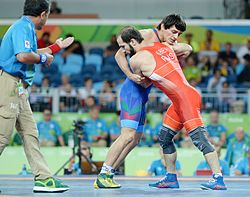 Wrestling at the 2016 Summer Olympics, Chunayev vs Albiev 4.jpg