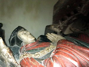 St Andrew's Church, Wroxeter - Image: Wroxeter St Andrews Effigies of Thomas Bromley and Isabel Lyster