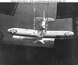 XF9C 1 aircraft hooking onto USS Akron, May 1932
