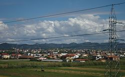 View of the town from Durrës-Tirana Highway