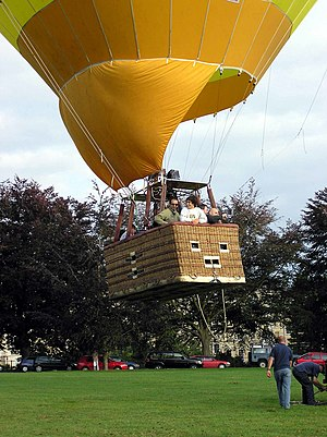 A hot air balloon takes off from Royal Victori...