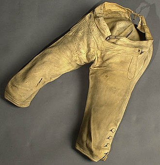 Panton, Leslie & Company - Yellow buckskin breeches, late 18th century, from the George C. Neumann Collection, Valley Forge National Historical Park