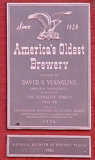 Yuengling - Plaque on the outside of the brewery.