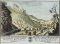 Zentralbibliothek Solothurn - OEFFNUNG DES HAUENSTEINS bey Homburg in dem Canton Basel von Mitternacht an zusehen Wappen OUVERTURE DE HAUENSTEIN sous le Château de Hombourg dans le Canton de Basle du Côté du Nord - a0215.tif