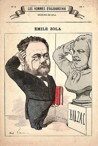 Les Rougon-Macquart - Zola, with the book of the Rougon-Macquart under his arm, salutes the statue of Balzac.