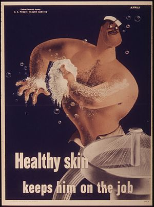 """Healthy skin keeps him on the job"" ..."