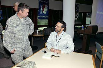 Armin Brott - U.S. Air Force Master Sgt. Monty LeBrun, 181st Communications Flight, 181st Intelligence Wing, Indiana Air National Guard, talking with Armin Brott