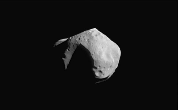 253 Mathilde, a C-type asteroid measuring about 50 km (30 mi) across, covered in craters half that size. Photograph taken in 1997 by the NEAR Shoemaker probe. (253) mathilde.jpg
