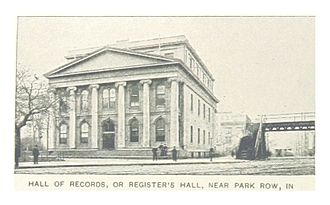 Debtors' Prison Relief Act of 1792 - Old Debtors' Prison or New Gaol known as Hall of Records in 1830 at Civic Center, Manhattan (ca. 1893)