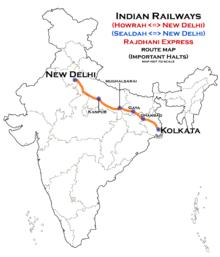 Indienkarte mit eingetragener Laufweg des Rajdhani Express in Nordindien.