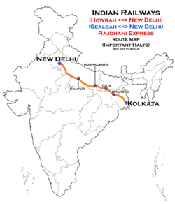 (New Delhi - Howrah) Rajdhani Express (via Gaya) Route map.png