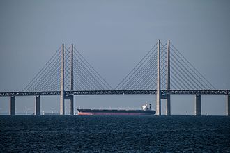 Cable-stayed bridge - Øresund Bridge from Malmö to Copenhagen in Sweden and Denmark