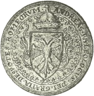 "Andreas Palaiologos - Seal of Andreas in Western style, with the imperial double-headed eagle and the Latin inscription ""Andreas Palaiologos, by the Grace of God, Despot of the Rhomaioi""."