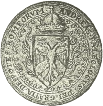 """Andreas Palaiologos - Seal of Andreas in Western style, with the imperial double-headed eagle on an escutcheon and the Latin inscription """"Andreas Palaiologos, by the Grace of God, Despot of the Rhomaioi""""."""