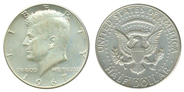 Полдоллара 1967года c изображением Кеннеди. Серебро