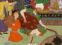 Хосров слушает музыку Барбада.Хамсе, Низами. 1539-43. Брит.библ.jpg