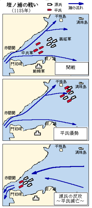Battle of Dan-no-ura - Map of the battle of Dan-no-ura