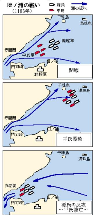 Battle of Dan-no-ura - Map of the battle of Dan-no-ura